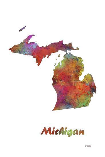 Michigan State Map 1-Marlene Watson-Giclee Print