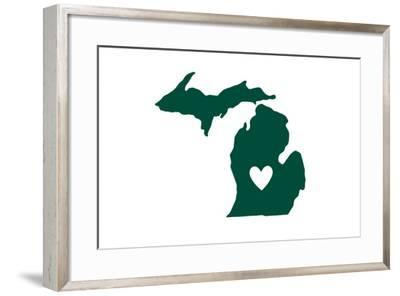Michigan - State Outline and Heart-Lantern Press-Framed Art Print