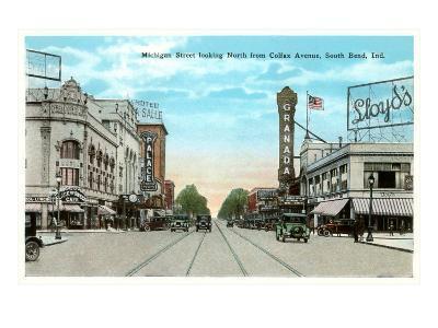Michigan Street, South Bend, Indiana--Art Print