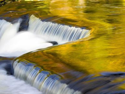 Michigan. Trees Reflect in Cascade Above Bond Falls, Ontonagon River-Julie Eggers-Photographic Print
