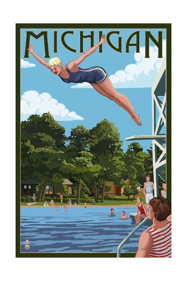 Michigan - Woman Diving and Lake-Lantern Press-Art Print