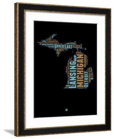 Michigan Word Cloud 1-NaxArt-Framed Art Print