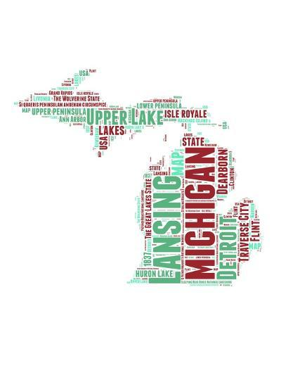 Michigan Word Cloud Map-NaxArt-Art Print