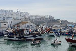 Fishing Boats Leaving Tangier Fishing Harbour, Tangier, Morocco, North Africa, Africa by Mick Baines & Maren Reichelt