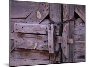 Chains and Lock on Weathered Barn Door by Mick Roessler
