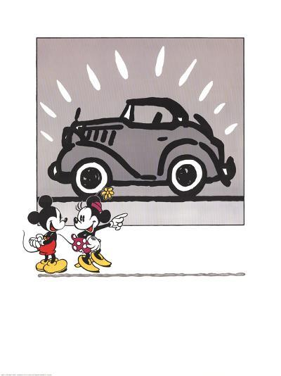 Mickey and Minie Looking at a Rolls Royce--Art Print