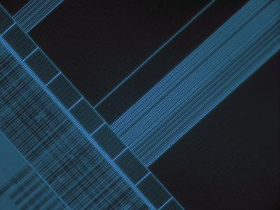 Micrograph of Computer Microprocessor, LM X200, Epifluorecence, UV Illumination-Robert Markus-Photographic Print
