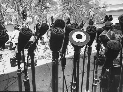 Microphones of Newsmen Outside White House During Kennedy-Gromyko Meeting--Photographic Print
