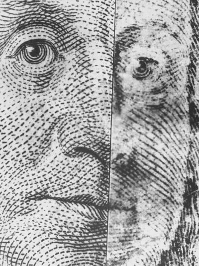 Microscopic Photo of Real $100 Bill and Fake One--Photographic Print
