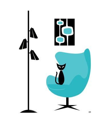Mid Century Modern Cat In Turquoise Egg Chair II Photographic Print By  Donna Mibus   Art.com