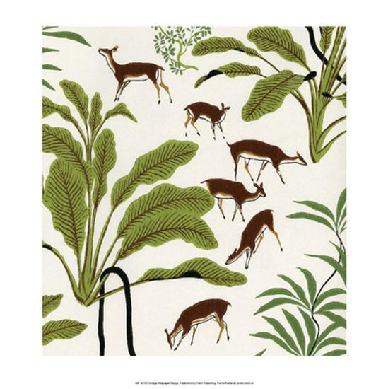 Mid Century Modern Wallpaper Deer In The Woods Art Print By Art Com