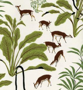 Mid-Century Modern Wallpaper, Deer in the Woods