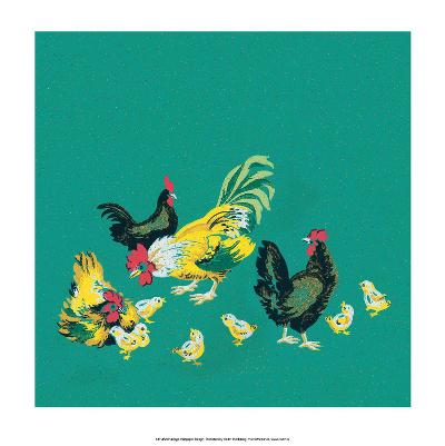 Mid-Century Modern Wallpaper,Rooster,Chickens and Chicks--Art Print