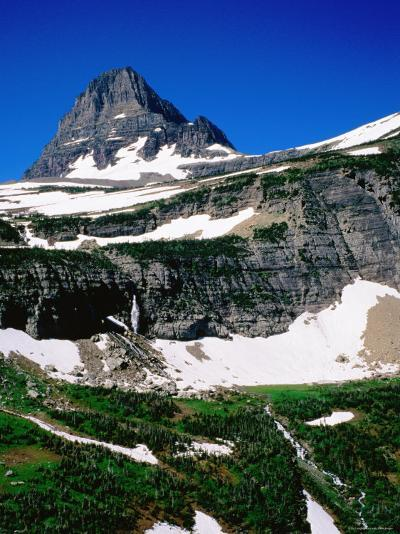 Mid-Summer Snow on Mountain, Glacier National Park, Montana-Holger Leue-Photographic Print
