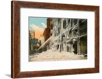 Mid-Winter Fire in Chicago, Illinois--Framed Art Print