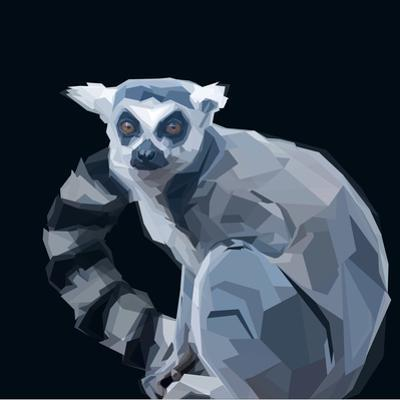 Ring Tailed Grey Lemur Creeping in Shadows on Dark Background by mid92
