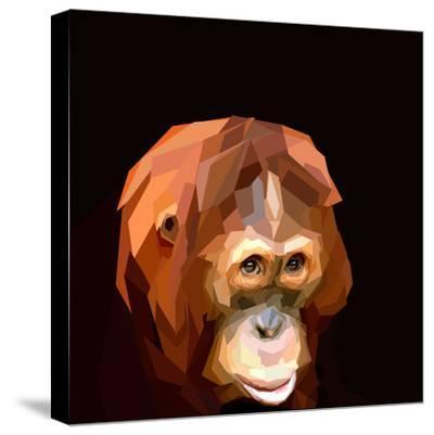 Sad Cute Orangutan Face on Dark Background