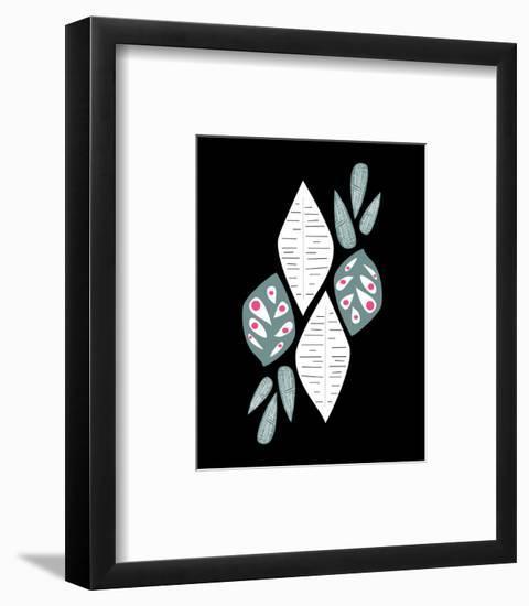 Midcentry Modern White Gray on Black-Melanie Biehle-Framed Giclee Print