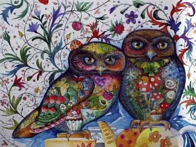 Middle Ages Owls-Oxana Zaika-Giclee Print