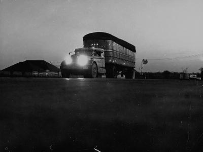 Middle Atlantic Transportation Truck on the Road at Daybreak--Photographic Print