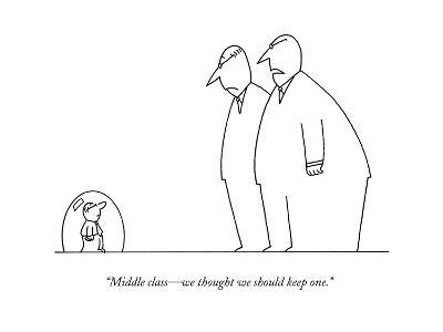 """""""Middle class?we thought we should keep one."""" - New Yorker Cartoon-Charles Barsotti-Premium Giclee Print"""