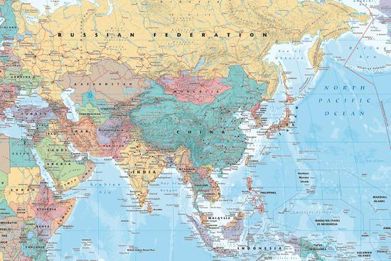 Middle East and Asia map--Poster