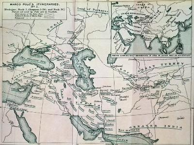 """Middle East: """"Marco Polo's Itineraries I"""", from """"The Book of Ser Marco Polo"""", Pub. 1903--Giclee Print"""
