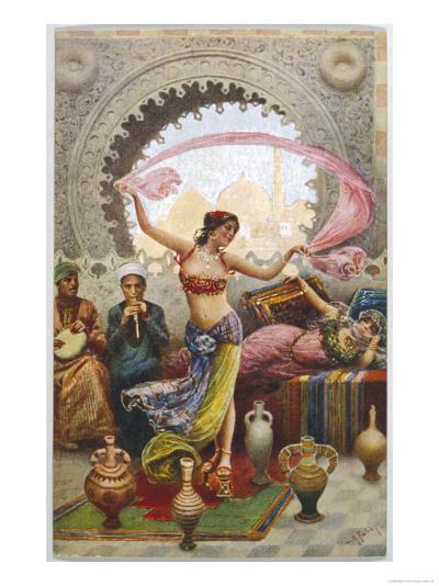 Middle Eastern Belly Dancer Dancing with a Veil to Musical Accompaniment--Giclee Print