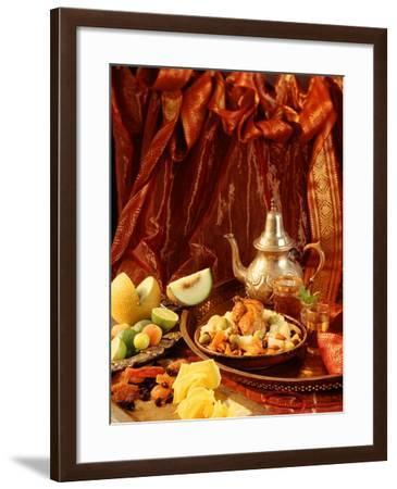 Middle Eastern Meal with Quail, Couscous, Fruit and Tea-Barbara Lutterbeck-Framed Photographic Print