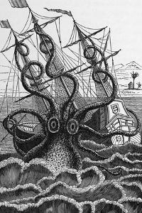 Octopus Attacking a Ship by Middle Temple Library