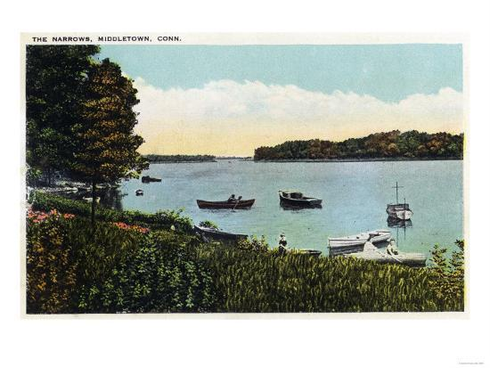 Middletown, Connecticut - View of Boats at the Narrows-Lantern Press-Art Print