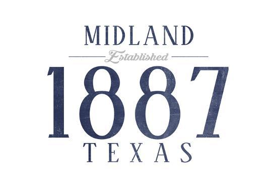 Midland, Texas - Established Date (Blue)-Lantern Press-Art Print