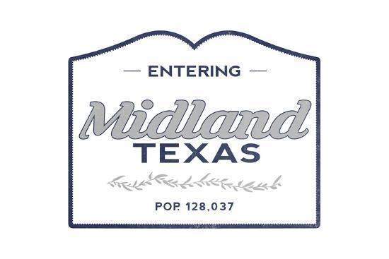 Midland, Texas - Now Entering (Blue)-Lantern Press-Art Print