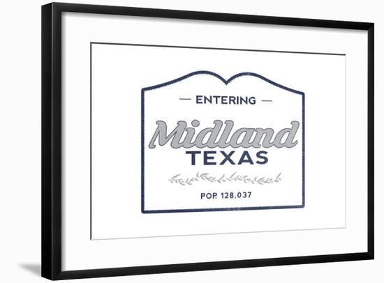 Midland, Texas - Now Entering (Blue)-Lantern Press-Framed Art Print