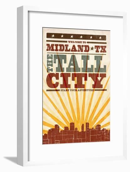 Midland, Texas - Skyline and Sunburst Screenprint Style-Lantern Press-Framed Art Print