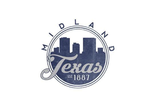 Midland, Texas - Skyline Seal (Blue)-Lantern Press-Art Print