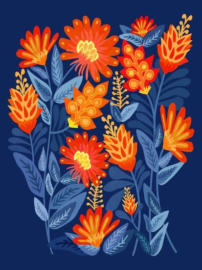 Midnight Garden-Modern Tropical-Art Print