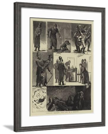 Midnight Sketches from Life, by a Prisoner--Framed Giclee Print