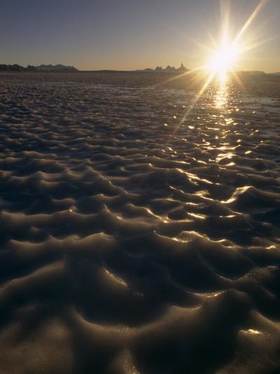 Midnight Sun Circles over a Bare Ice Glacier Near Fenris Mountains-Gordon Wiltsie-Photographic Print