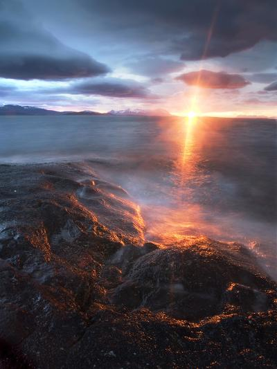 Midnight Sun over Vågsfjorden, Skånland, Troms County, Norway-Stocktrek Images-Photographic Print