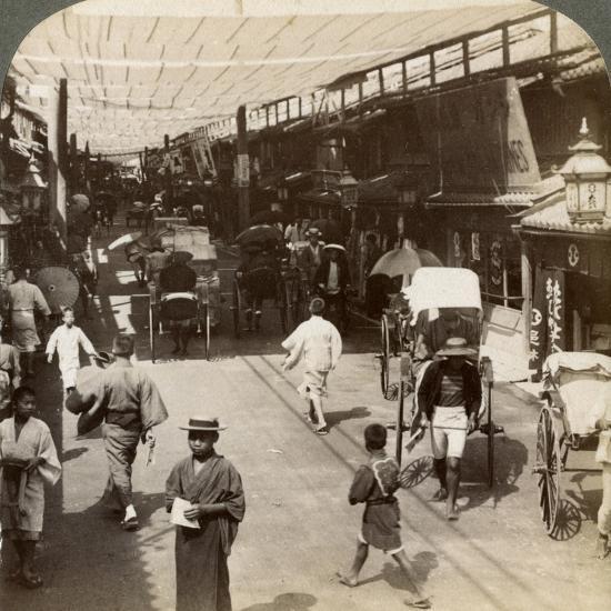 Midsummer Traffic under the Awnings of Shijo Bashidori, a Busy Thoroughfare of Kyoto, Japan, 1904-Underwood & Underwood-Photographic Print