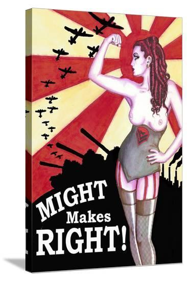 Might Makes Right- Shayne of the Dead-Stretched Canvas Print