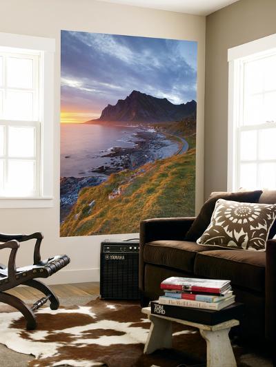Mightnight Sun over Dramatic Coastal Landscape, Vikten, Flakstadsoya, Lofoten, Nordland, Norway-Doug Pearson-Wall Mural