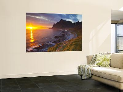 Mightnight Sun over Dramatic Coastal Landscape, Vikten, Flakstadsoya, Lofoten, Norway-Doug Pearson-Wall Mural