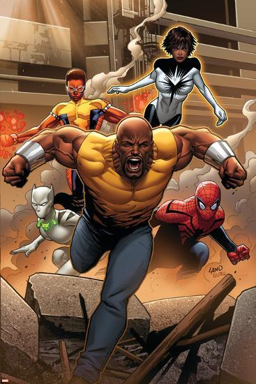 Mighty Avengers #1 Cover: Cage, Like, White Tiger, Spider-Man, Power Man, Spectrum-Greg Land-Art Print