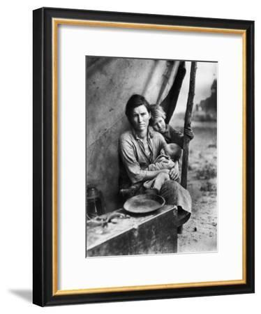 Migrant Mother Florence Thompson and Children Photographed by Dorothea Lange-Dorothea Lange-Framed Premium Photographic Print