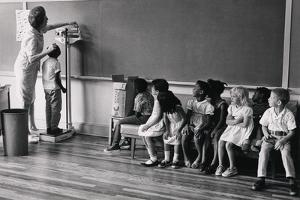 Migrant Workers Children Measured for Height, at School in New Jersey, 1956