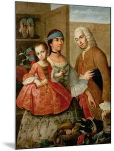 A Spaniard, His Mexican Indian Wife and Child, from a Series on Mixed Race Marriages in Mexico by Miguel Cabrera