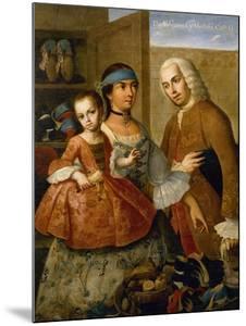 Couple with Little Girl (De Espanol y Mestiza, Castiza), Museo de America, Madrid, Spain by Miguel Cabrera