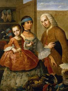 Couple with Little Girl (De Espanol y Mestiza, Castiza), Museo de America, Madrid, Spain by Miguel Cabrera